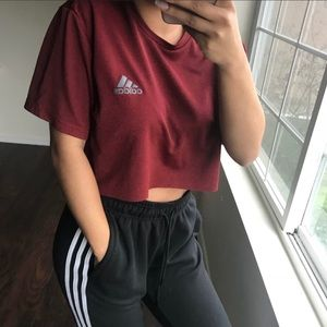 Burgundy climalite crop top NWT